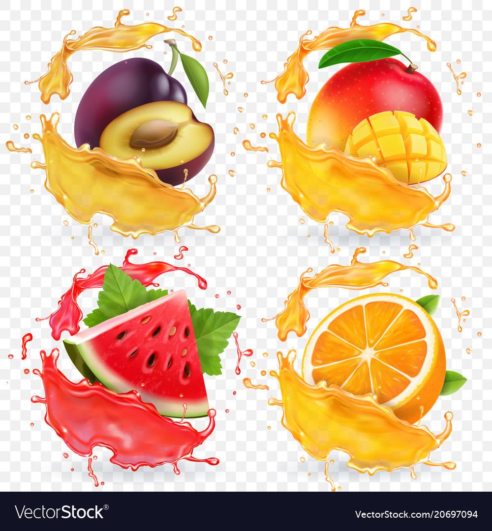 Orange watermelon plum and mango juice