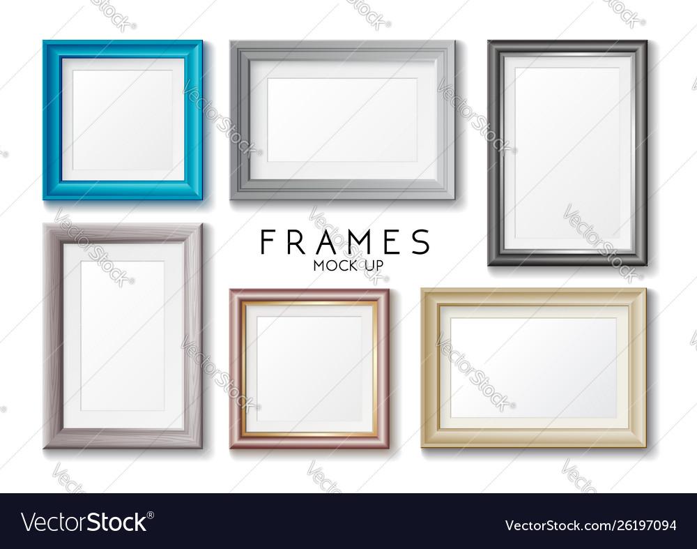 Realistic rectangular gold and blue frames set