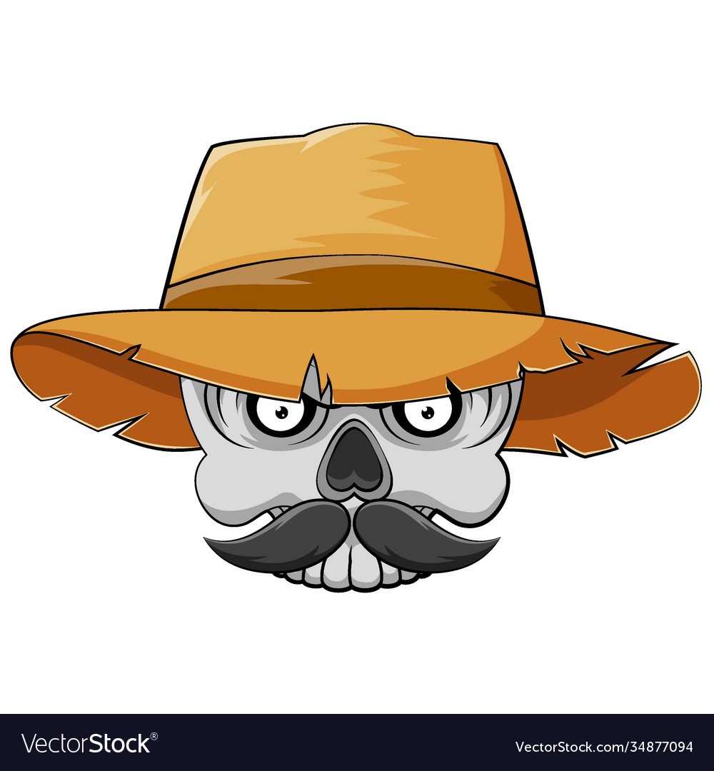 Skull head with mustache and straw hat for