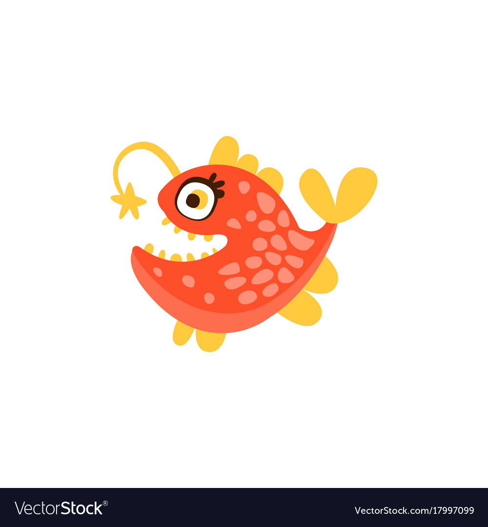 Angler fish funny sea creature hand drawn Vector Image
