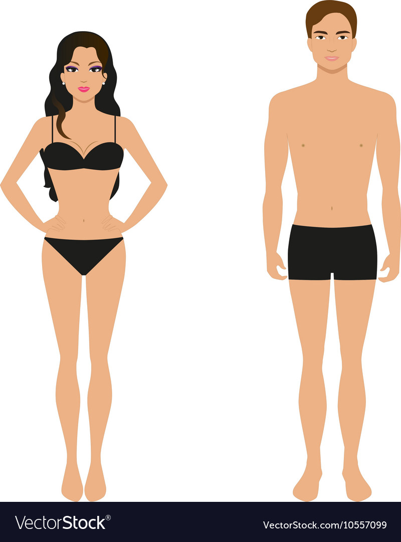Athletic girl and a guy in his underwear vector image