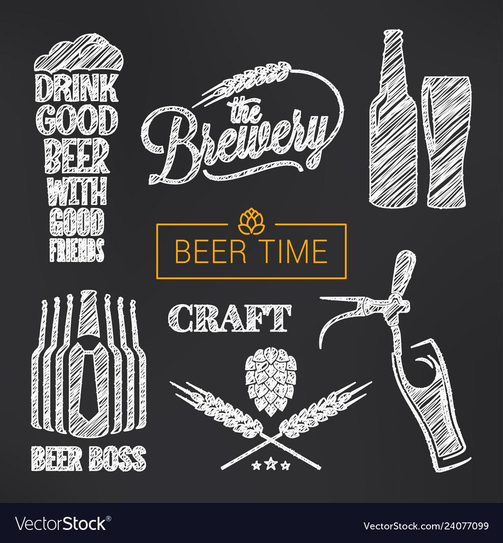 Beer sketch set beer glass and bottle