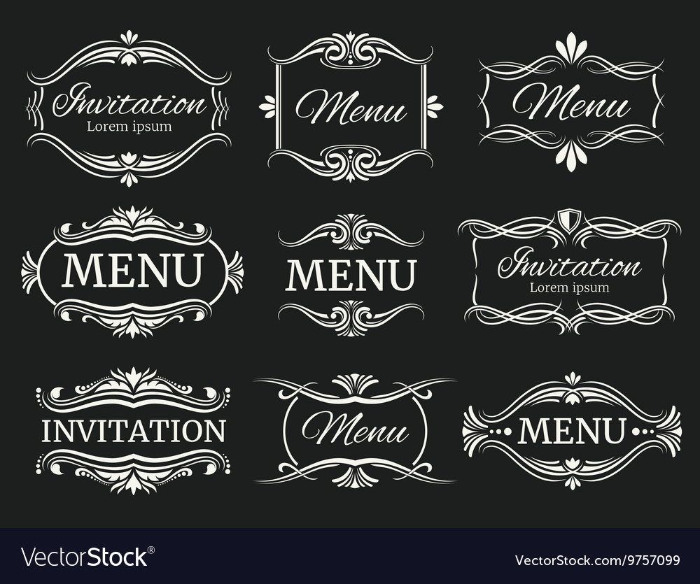 Calligraphic decorative frames for menu and