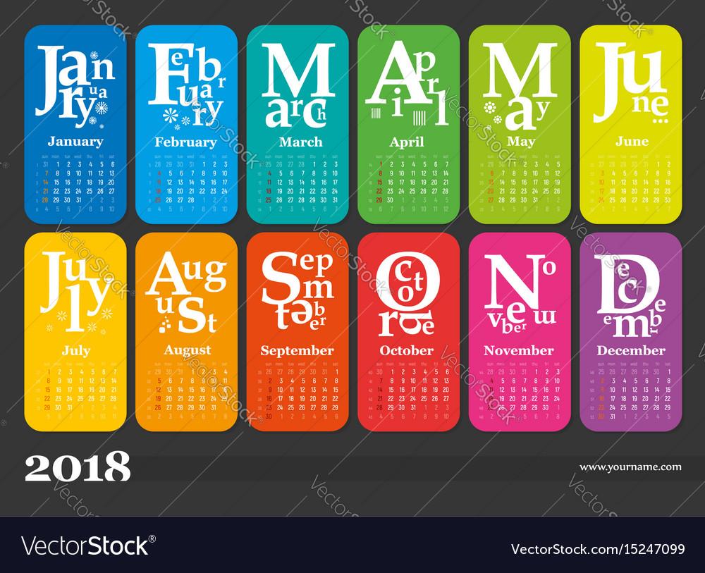 Creative calendar 2018 vector image