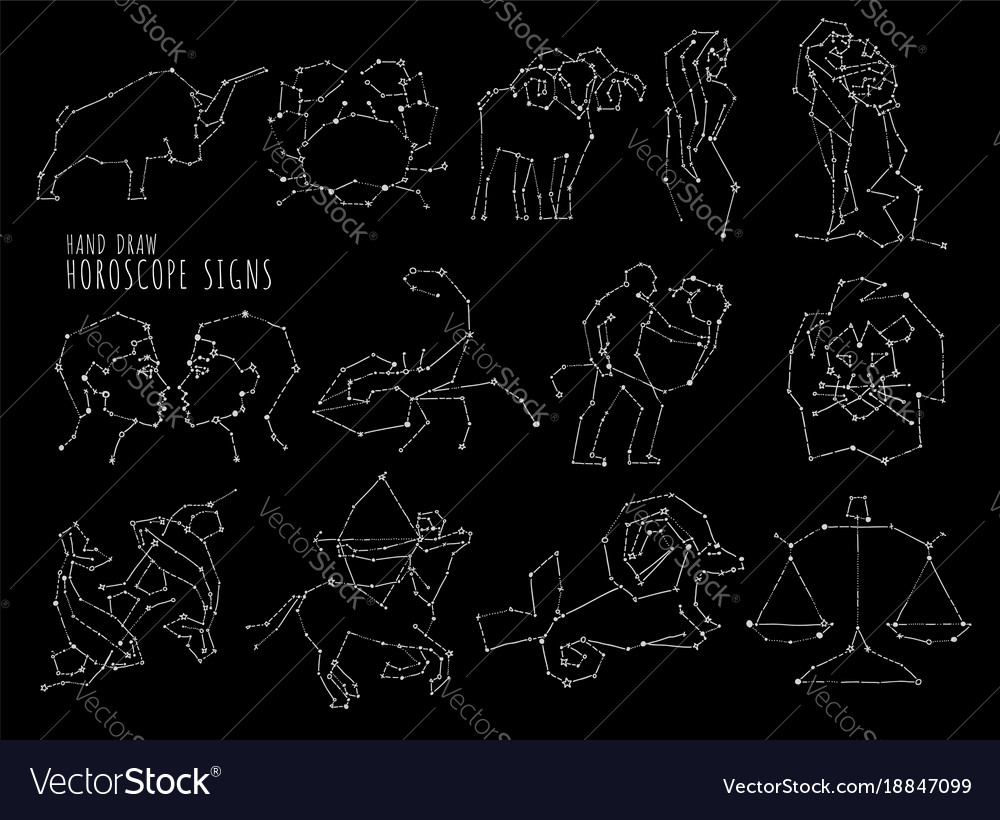 Hand draw horoscope symbols all zodiac signs in