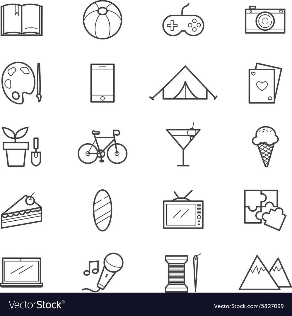 Hobbies And Activities Icons Line Royalty Free Vector Image