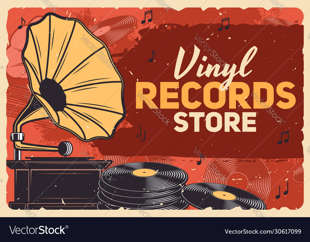 Music store gramophone vinyl records