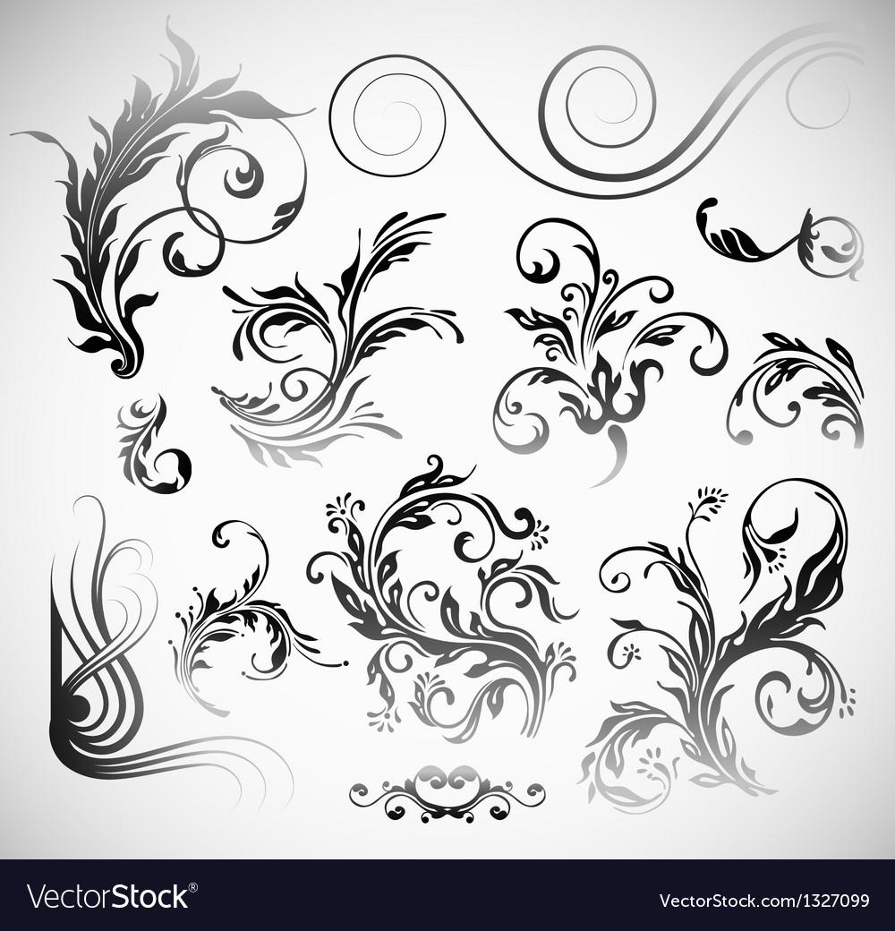 Ornament Flowers Vintage Design Elements
