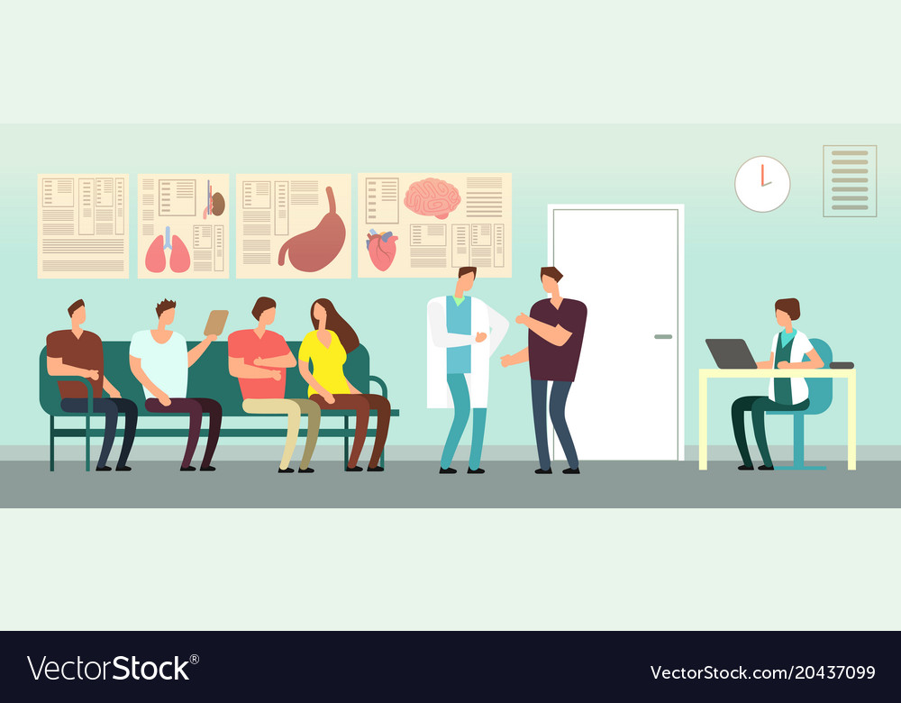Patients and doctor in hospital waiting room