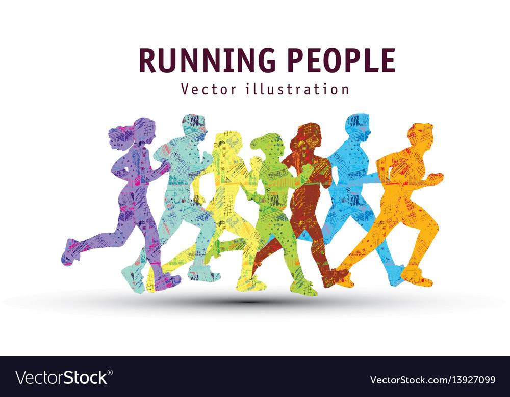 People run sport marathon color silhouette