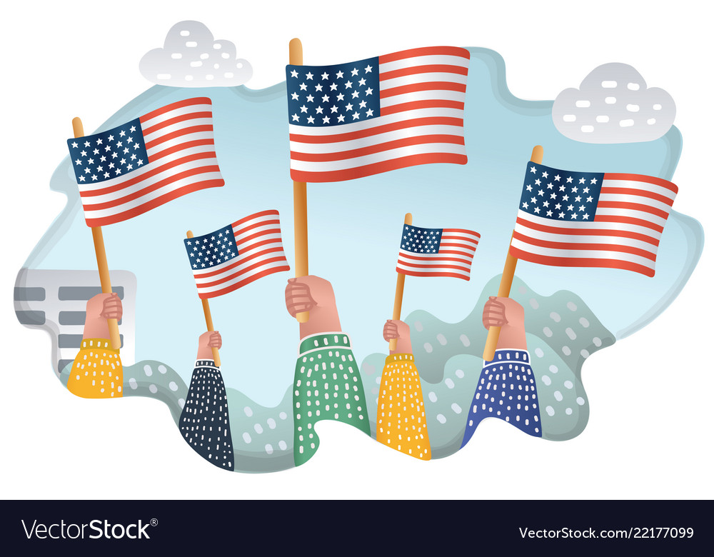 People waving american national flags outdoors