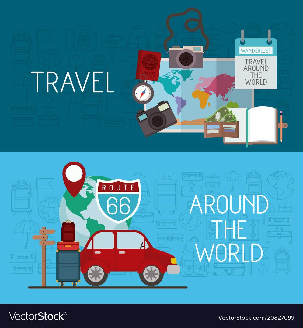 Travel around the world set icons