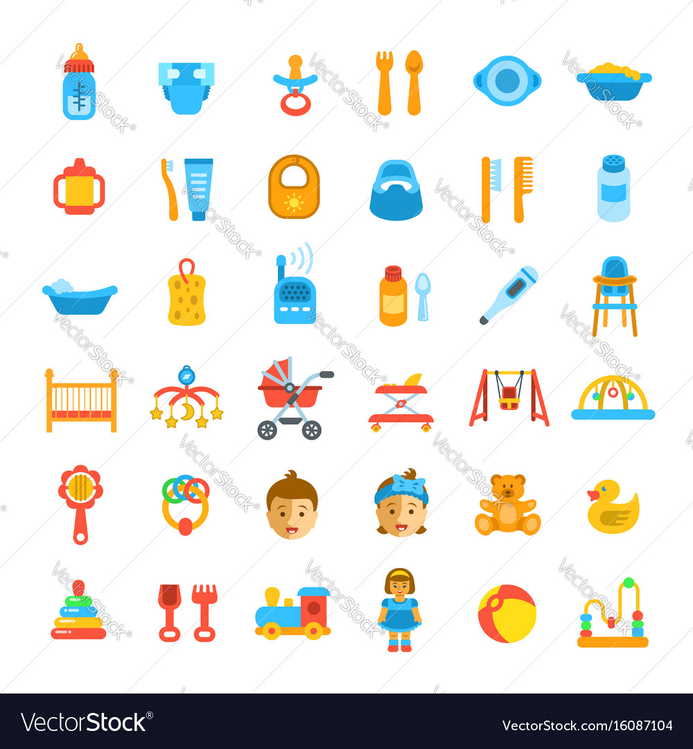 Baby care flat icons