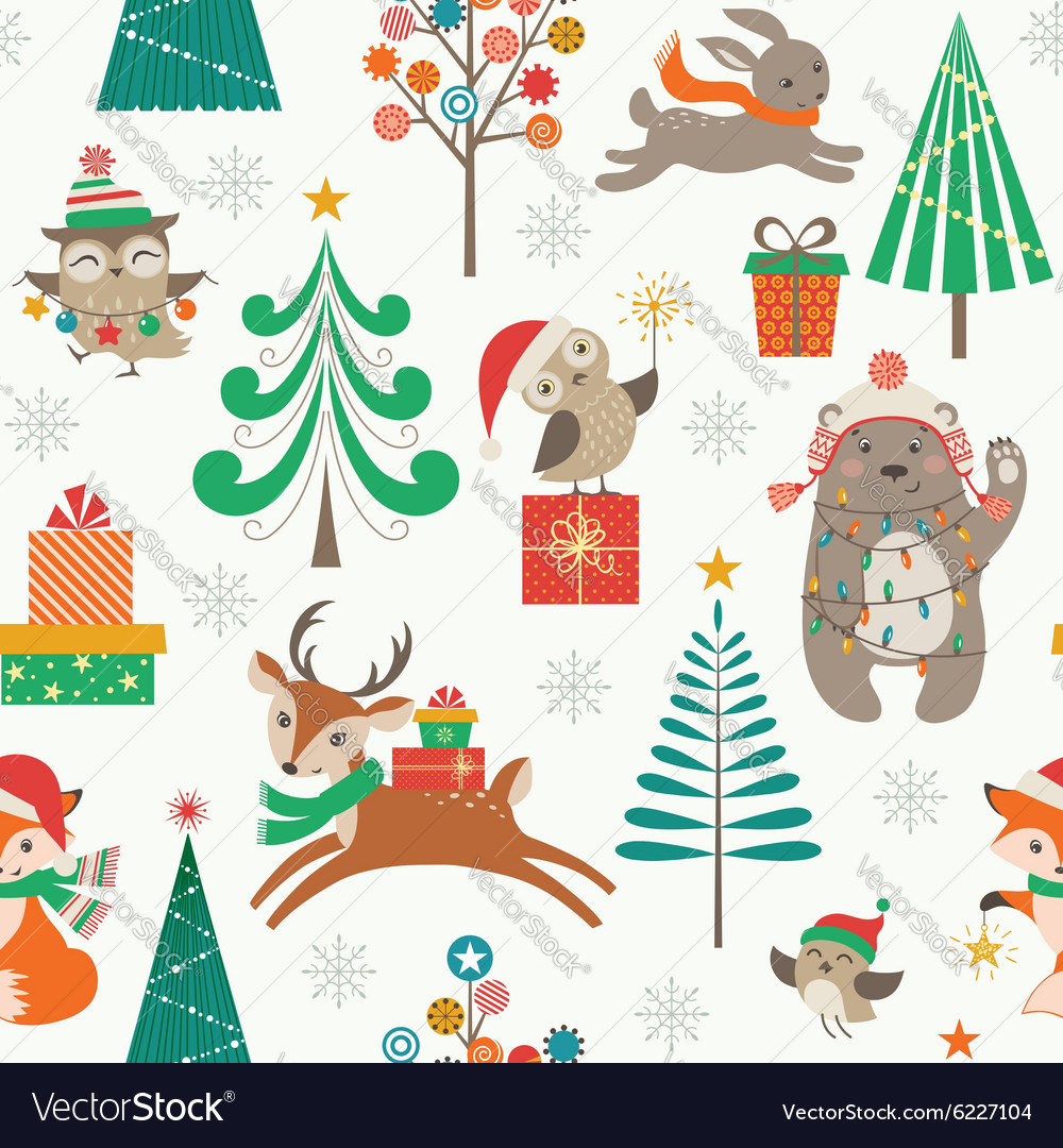Christmas patter with cute animals