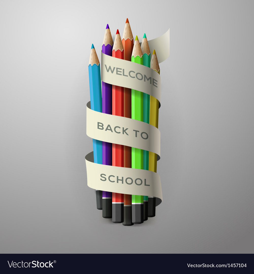 Colorful pencil crayons with text Back to school