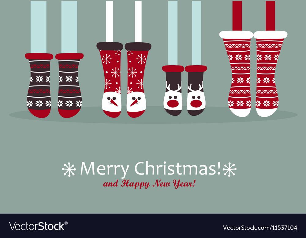 Family feet in Christmas socks