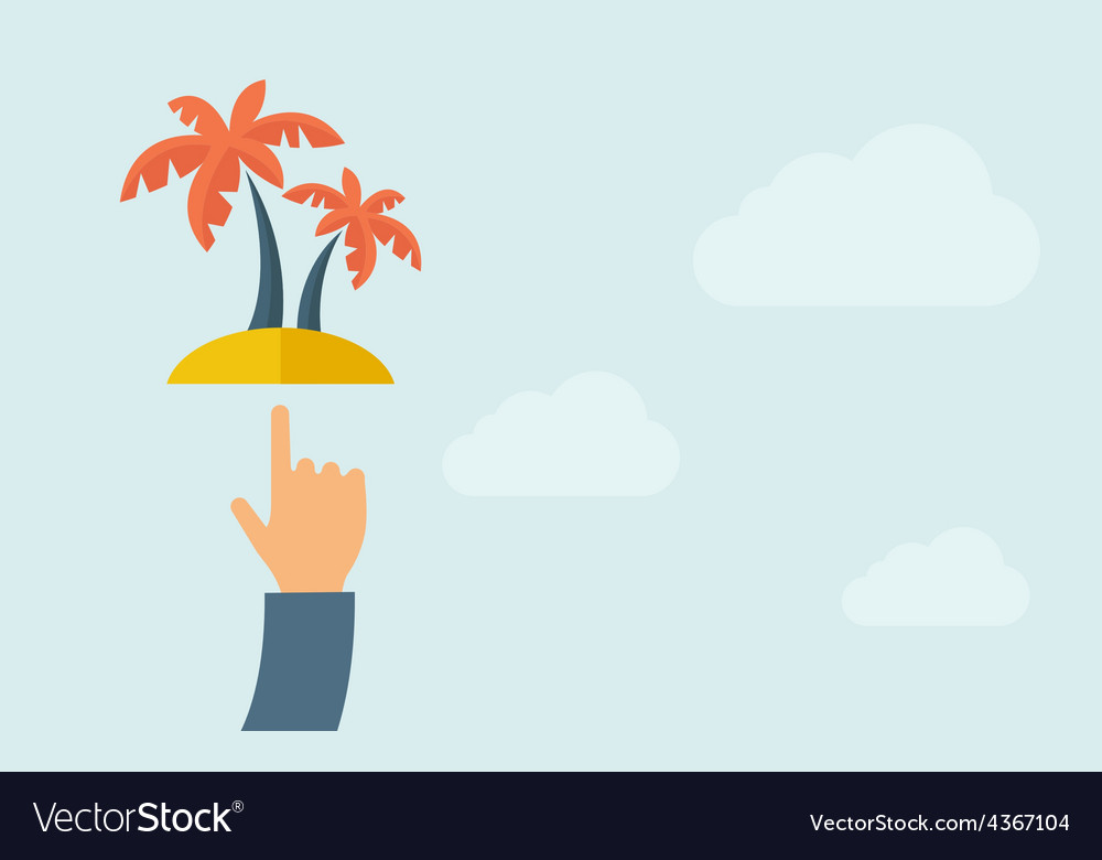 Hand pointing palm tree vector image