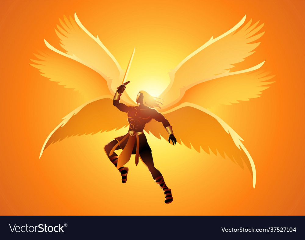 Michael archangel with six wings holding