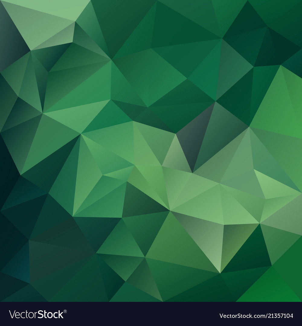 Polygonal square background medium green vector image