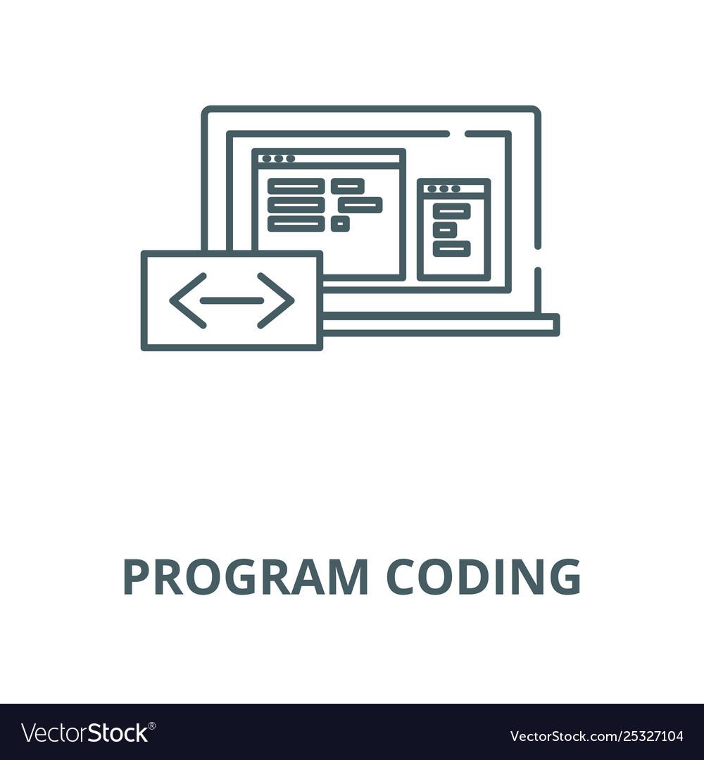 Program coding line icon linear concept