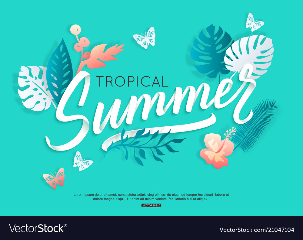 Summer typography design with tropical floral