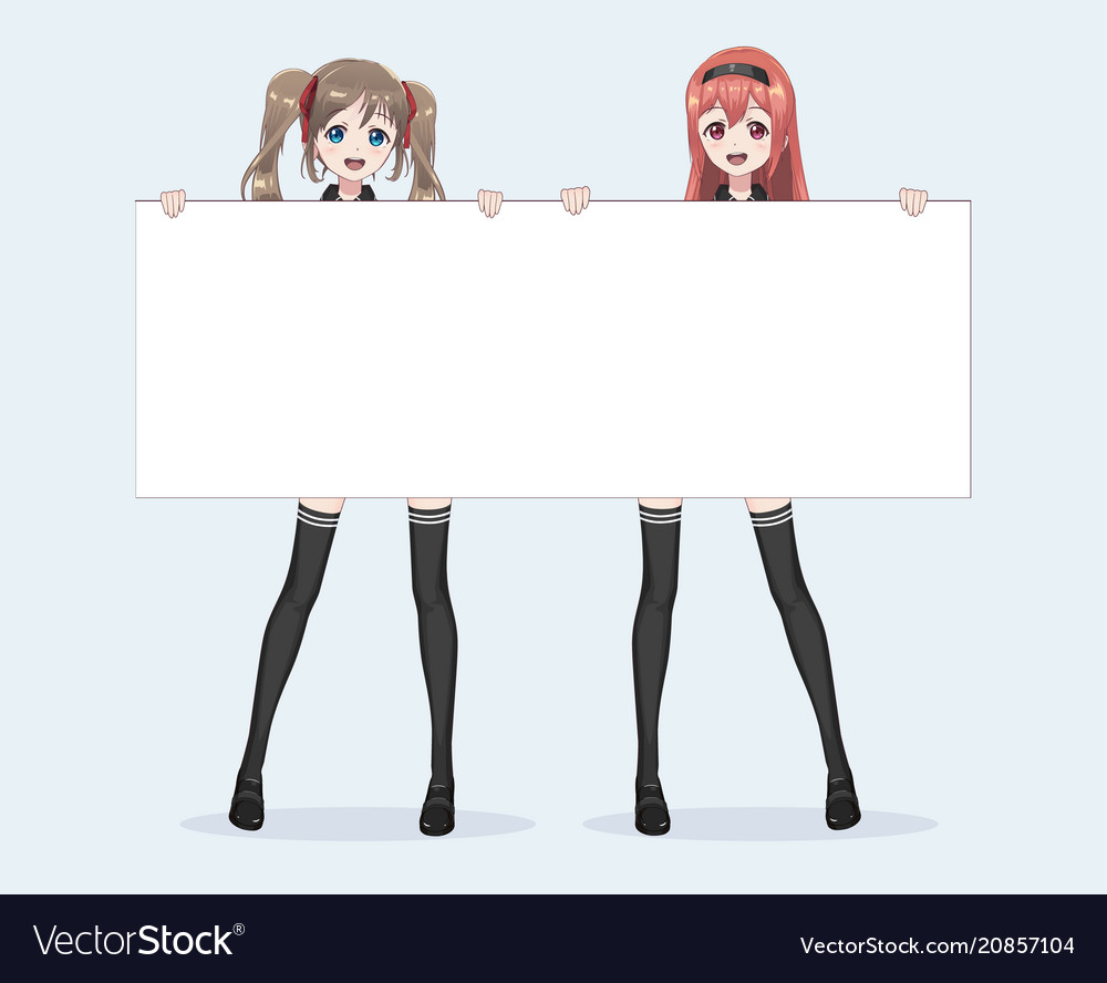 Two japanese asian woman hold a white billboard