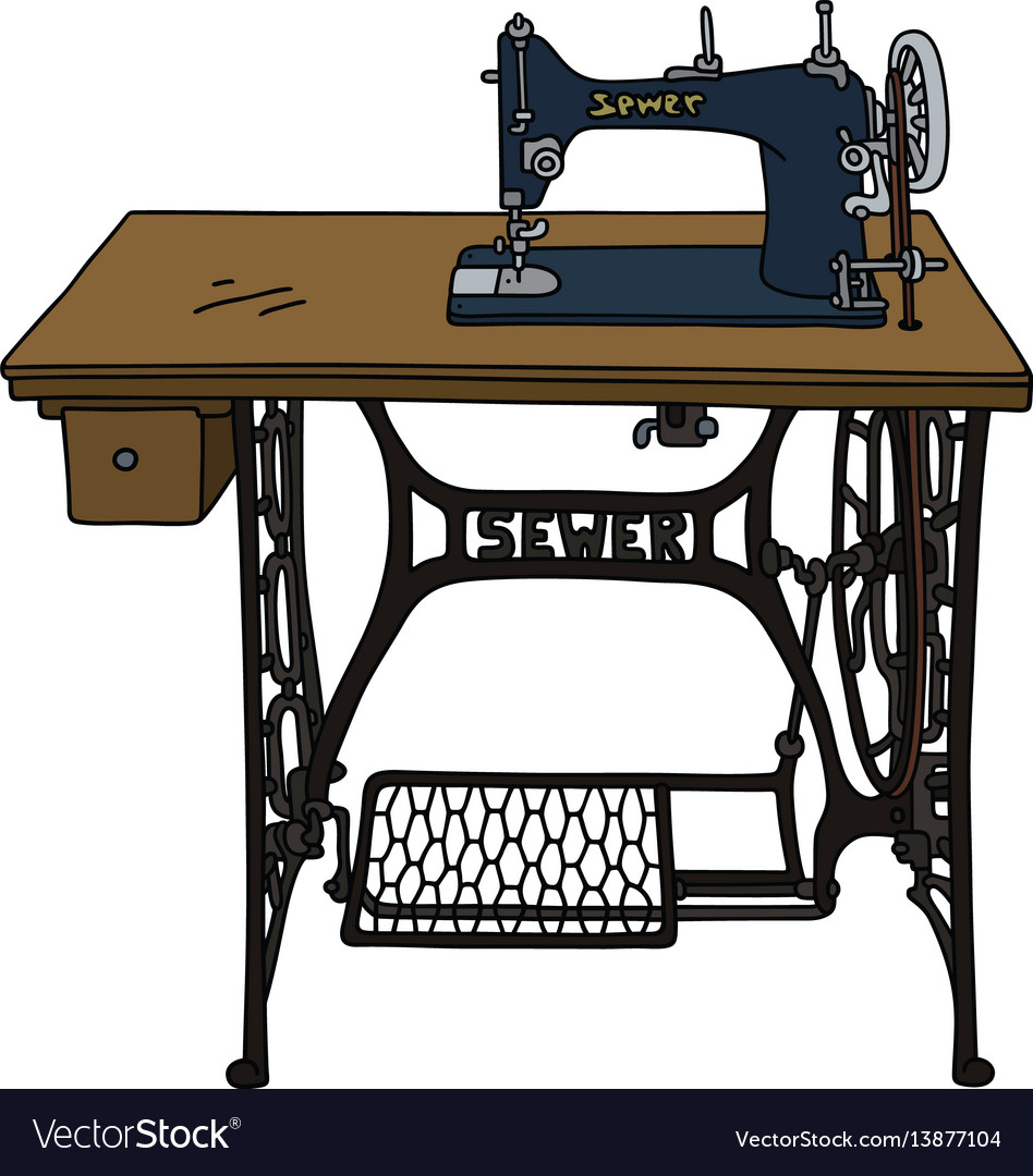 Vintage treadle sewing machine Royalty Free Vector Image