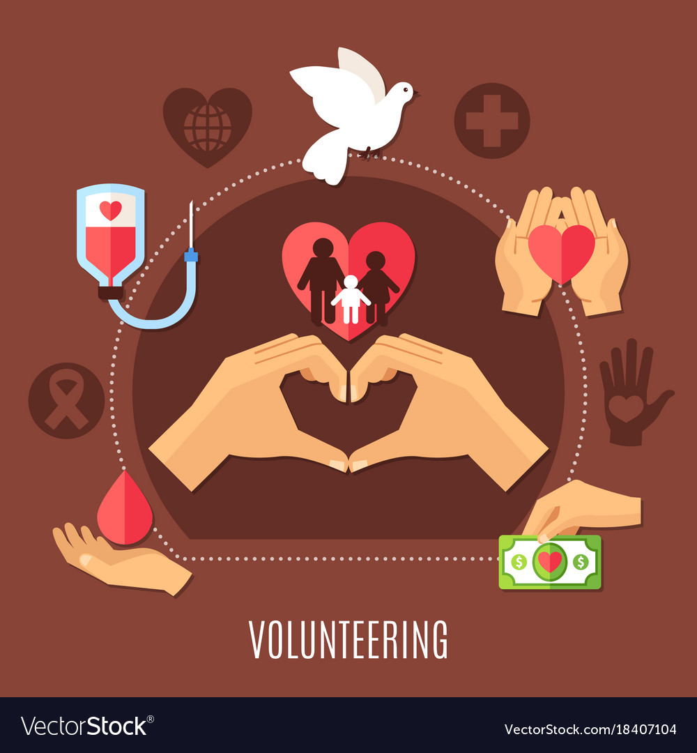 Volunteer services charity composition