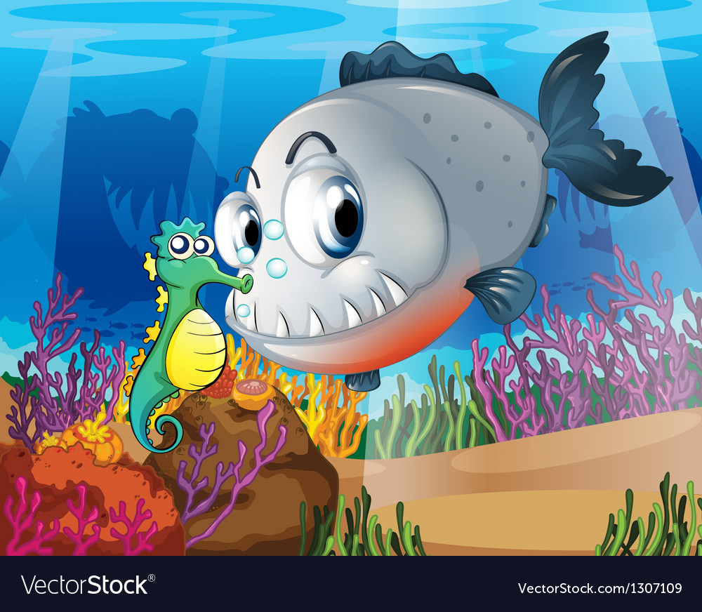 A piranha and a seahorse under the sea