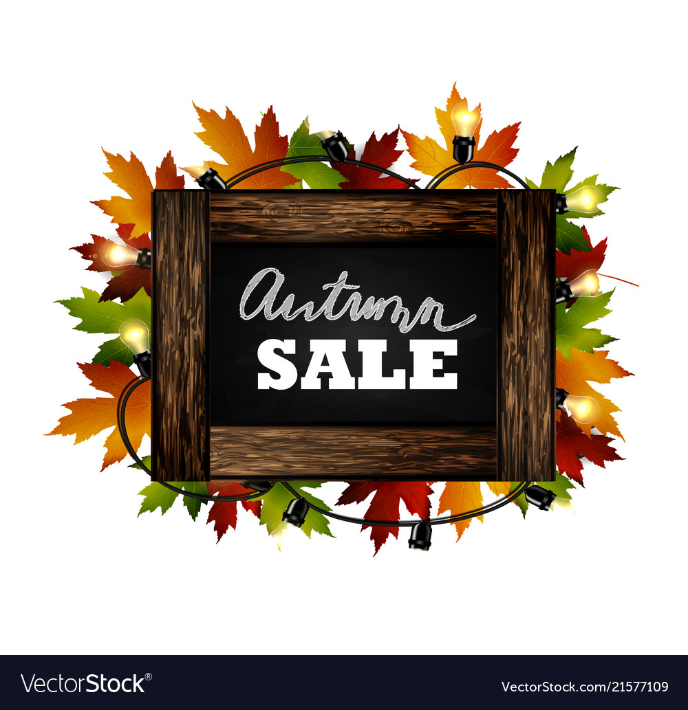 Autumn sale autumn leaves are drawn with chalk on