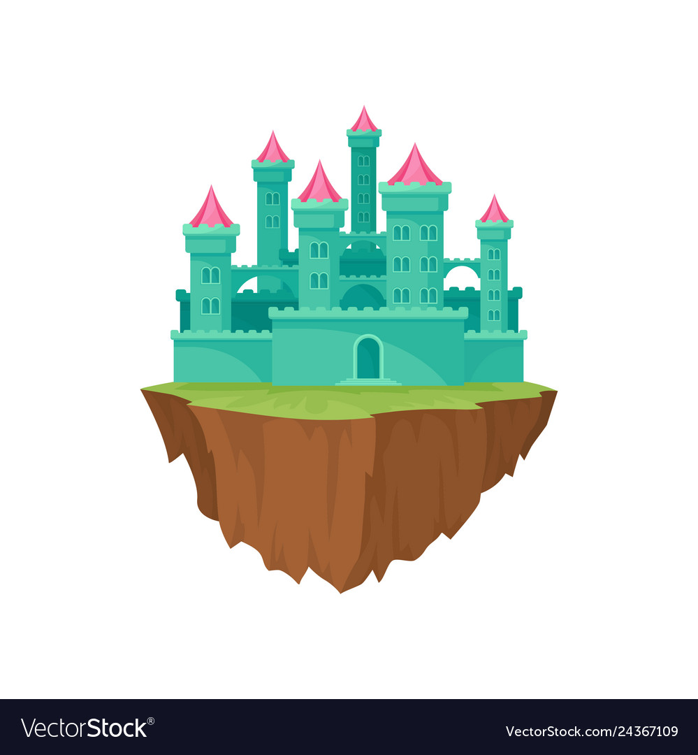 Cartoon green island castle on white background