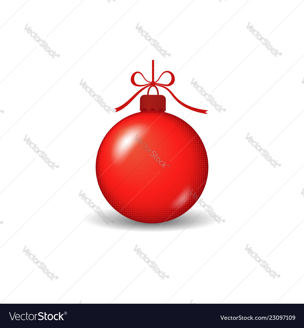Christmas tree ball with ribbon bow red bauble