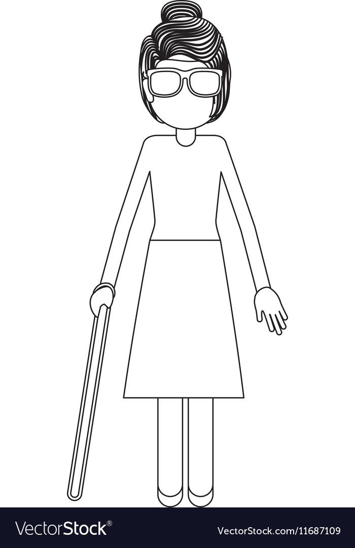 Disabled blind girl cartoon design