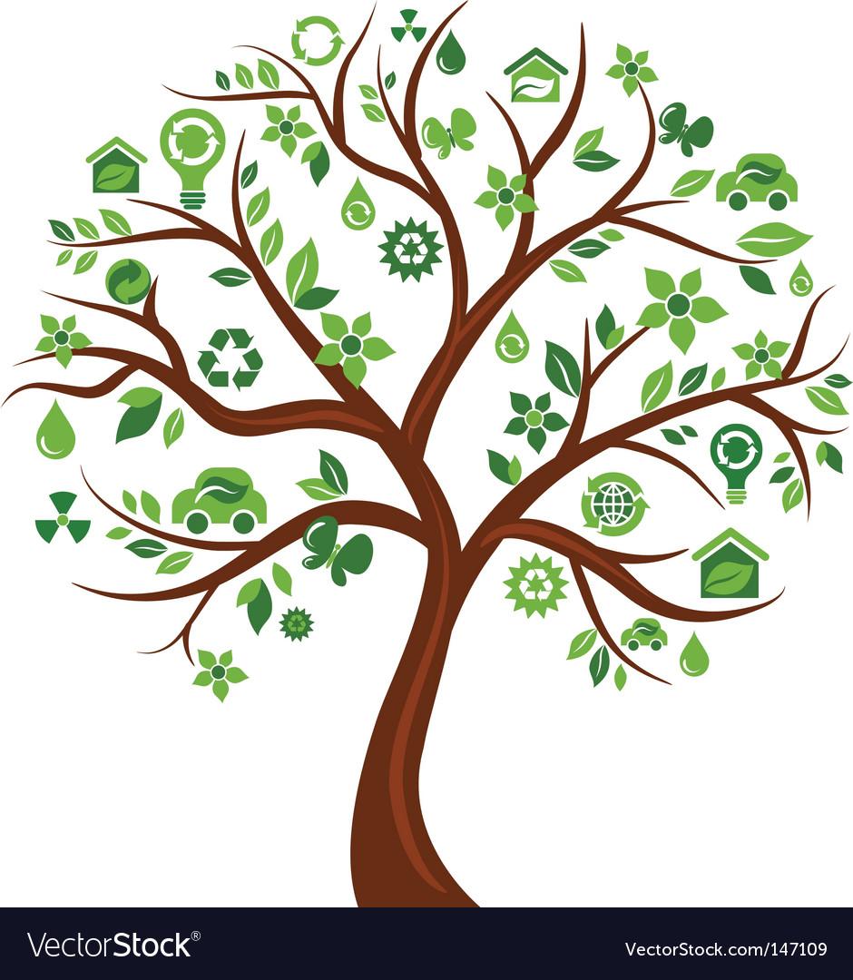 Environmental icons tree vector image
