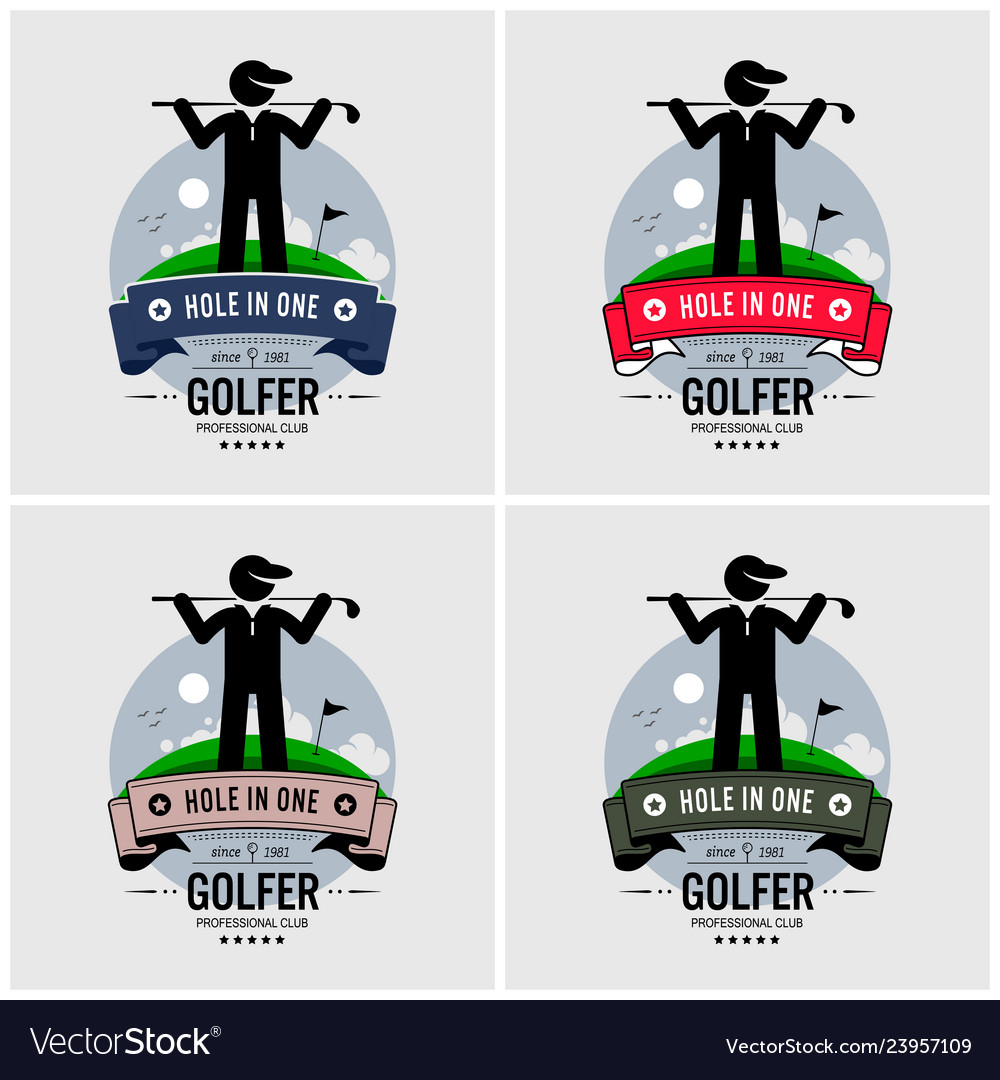 Golf club logo design artwork of a golfer posing