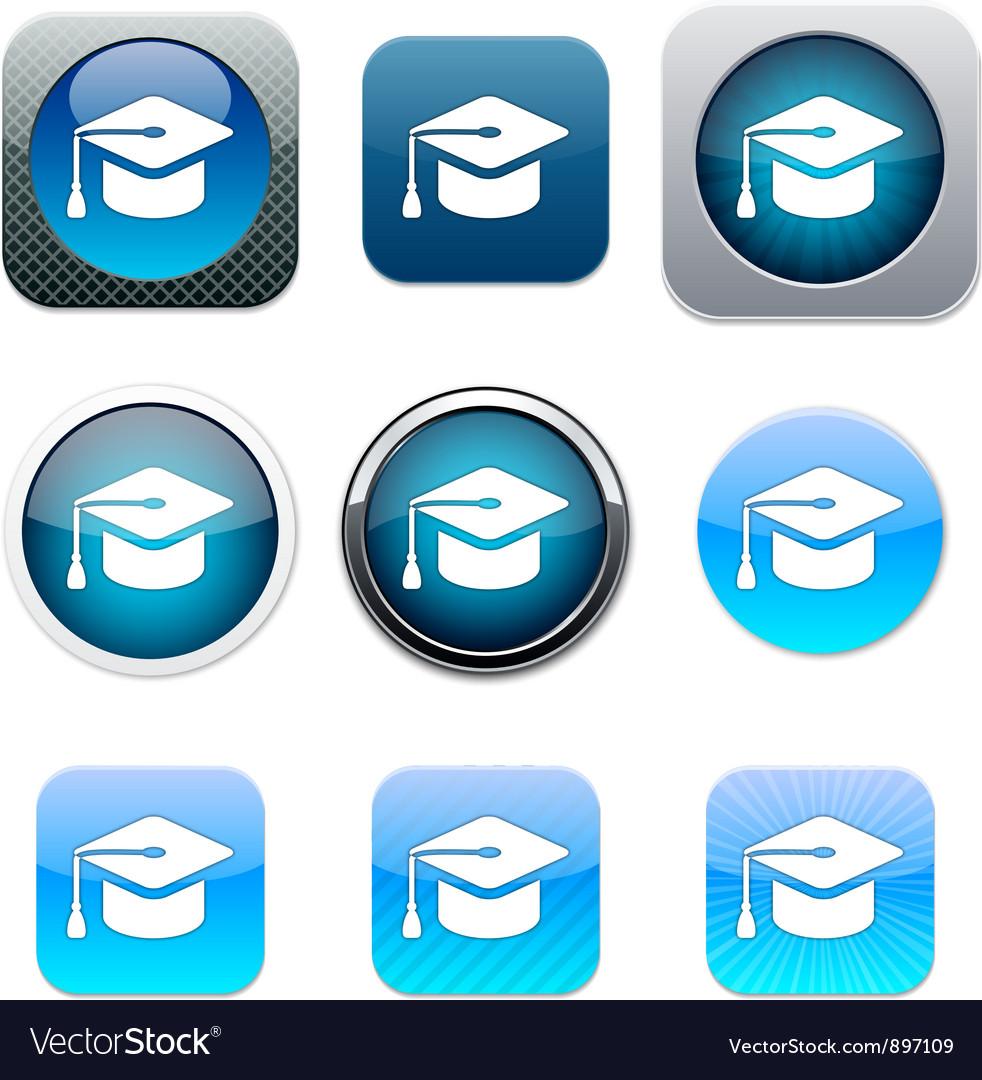 Graduation blue app icons vector image