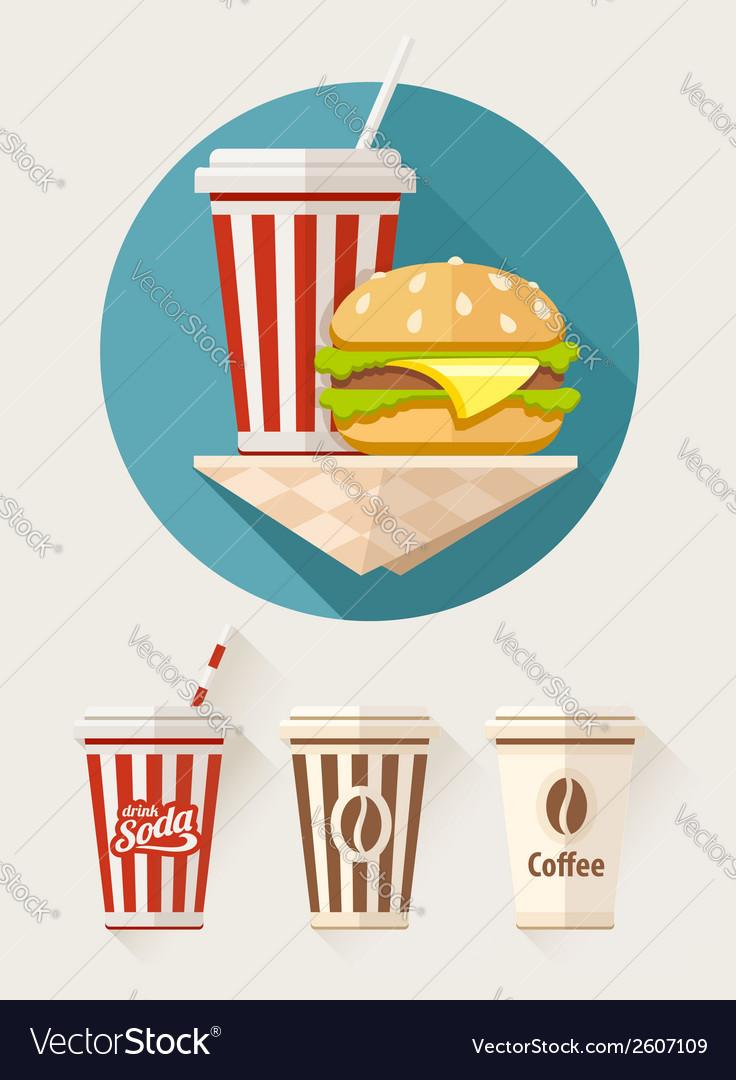 Hamburger and soda in paper