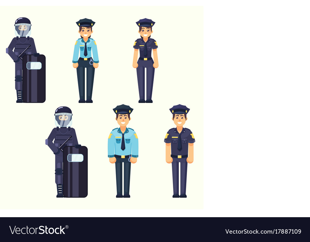 Policeman policewoman special forces vector image