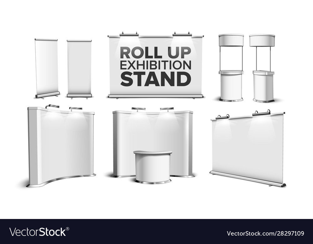 Roll up stand fair desk counter table set