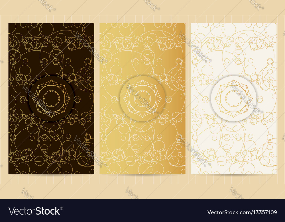Set of flyers in golden color with logo
