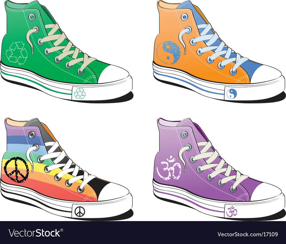 Shoes with peace symbol