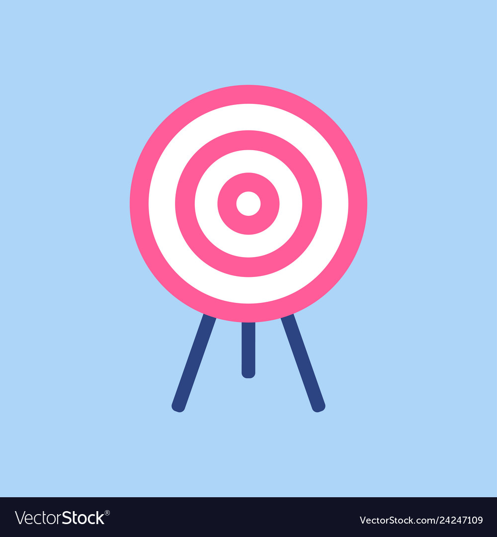 Target symbol pink and white target on blue