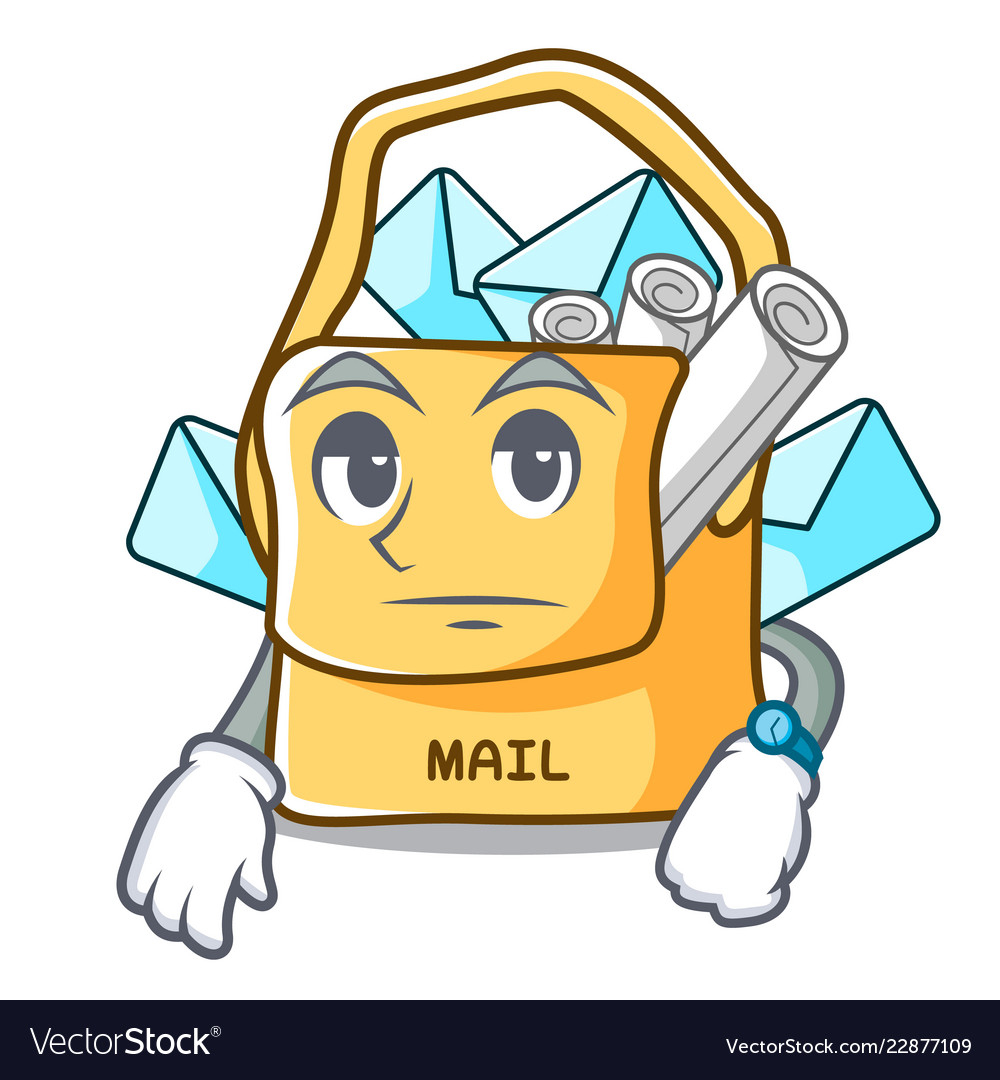 Waiting For Mail >> Waiting Mail Bag Character On Table Front Vector Image