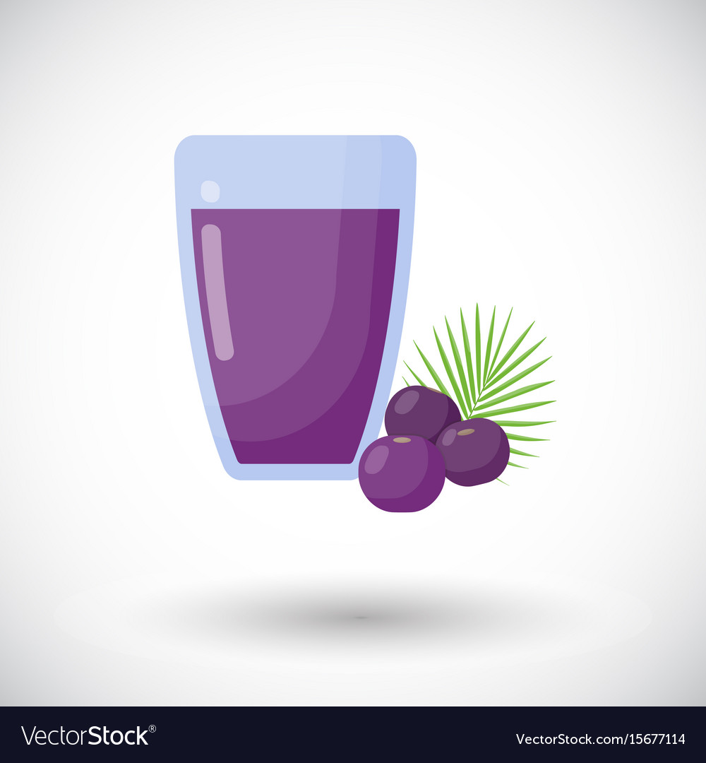 Acai berries juice flat icon