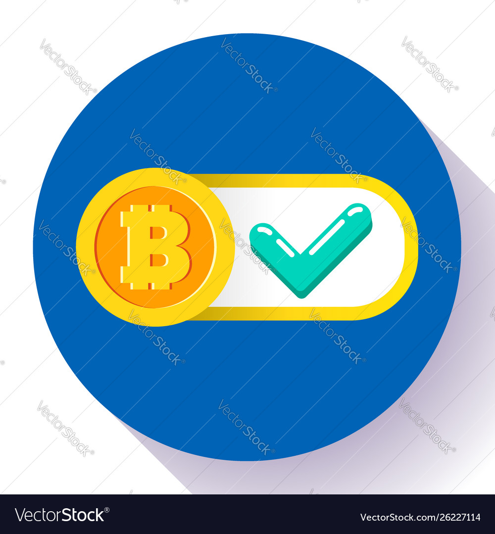 Bitcoin accepted here icon flat style