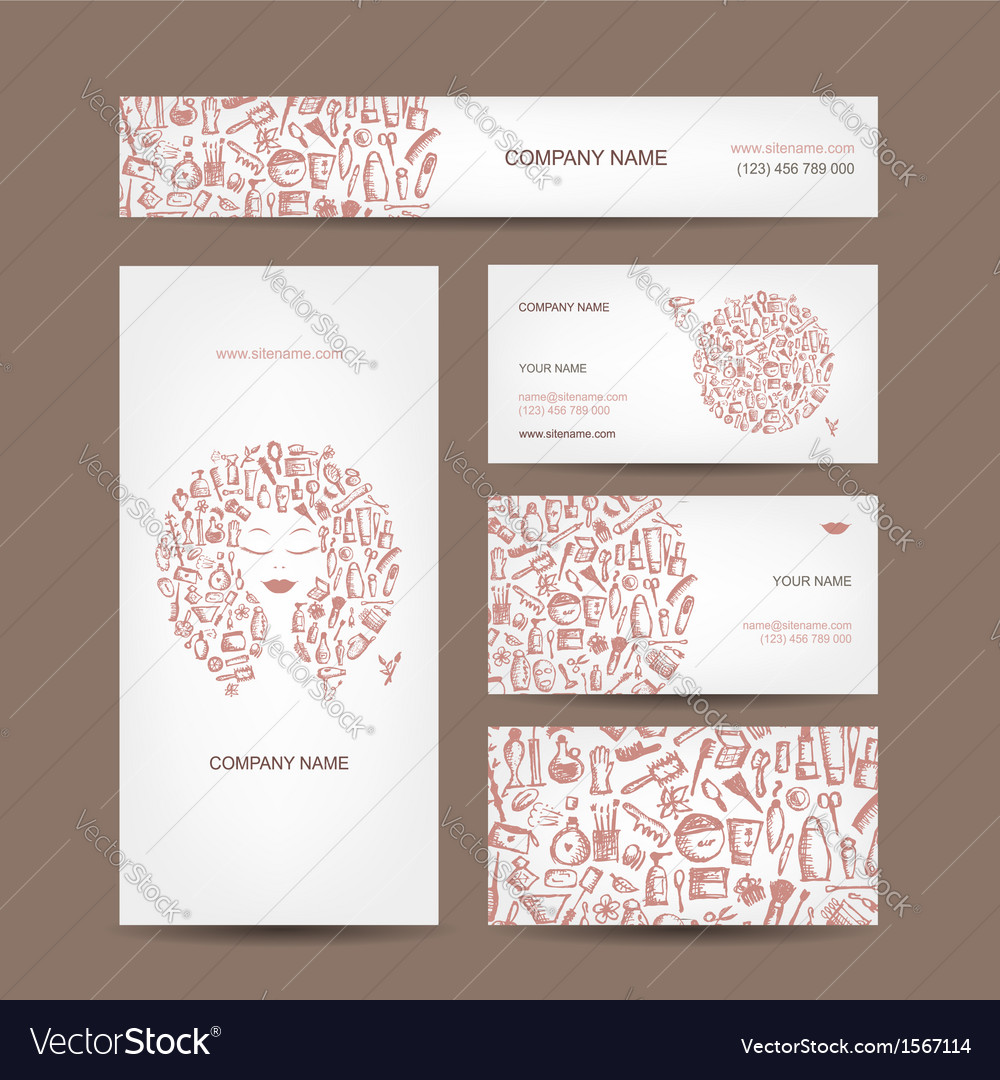 Business cards design cosmetics and accessories vector image colourmoves
