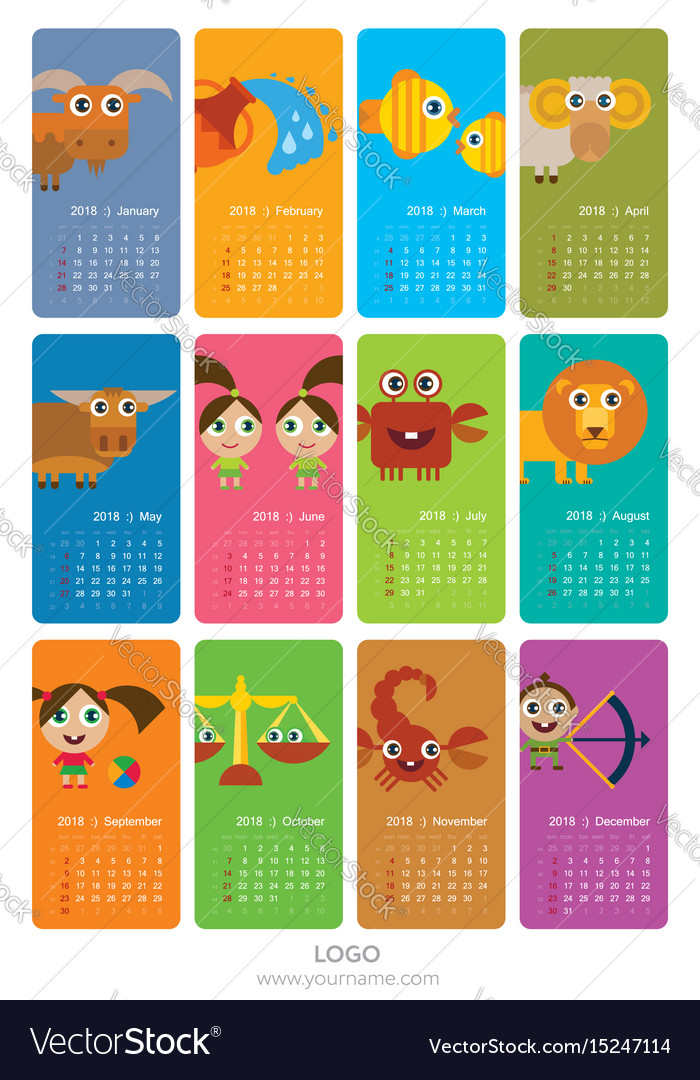 Calendar 2018 with signs of zodiac
