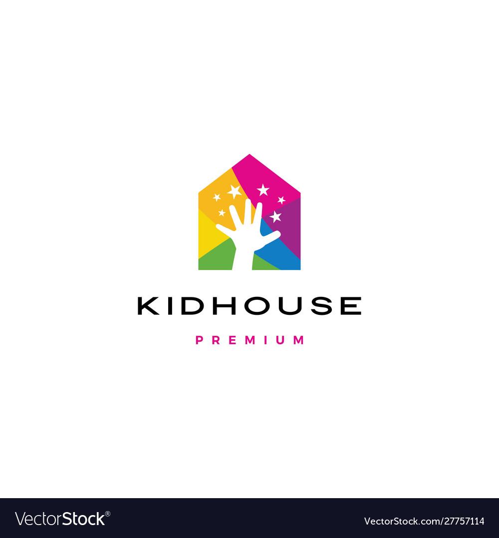 Child children hand reach stars kid house logo