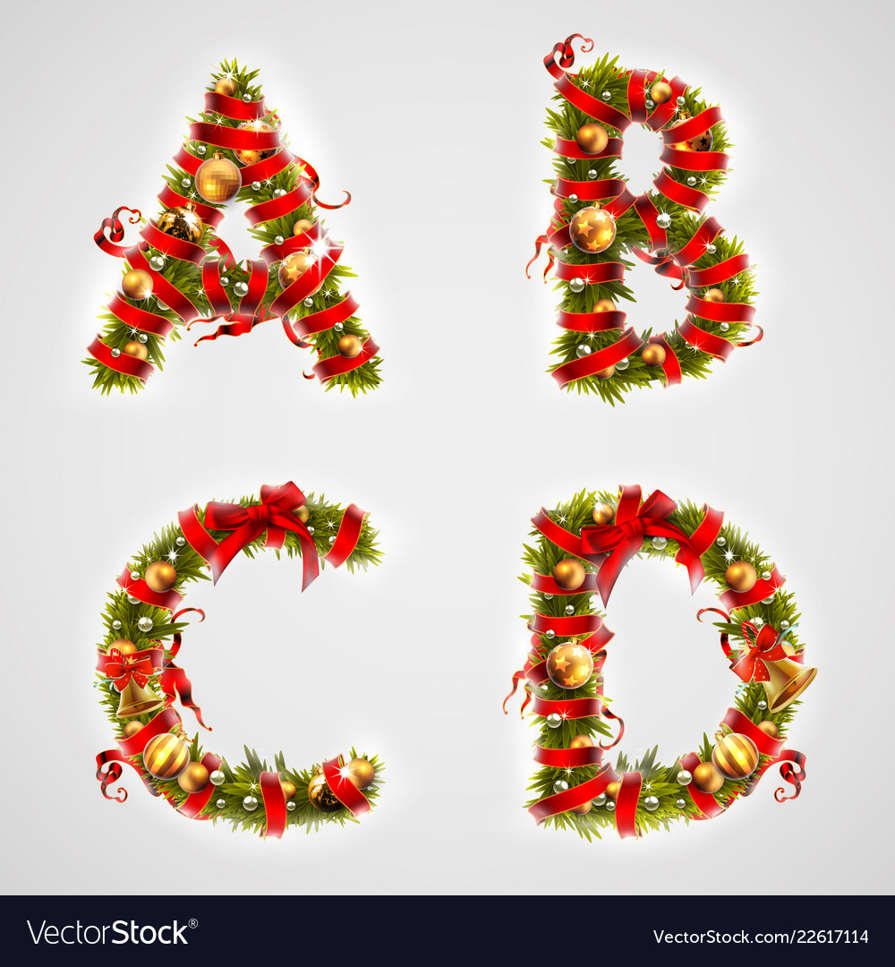 Christmas Letters.Christmas Font Four Letters Abcd Of Christmas