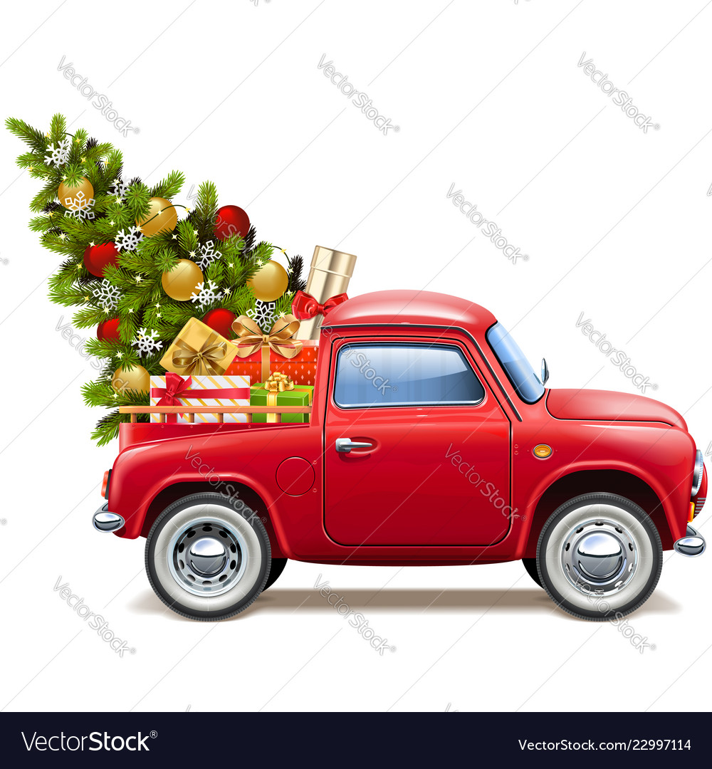 Christmas red pickup
